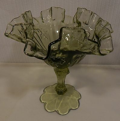 Fenton Avocado Green Cabbage Rose Pedestal Compote with scalloped foot