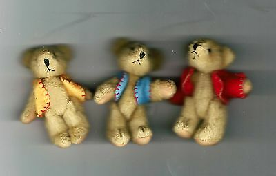 "NEW Three Delton Articulated Teddy Bear 3"" Ornaments  #4709-0  Group #1"