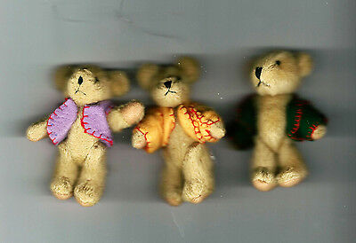"NEW Three Delton Articulated Teddy Bear 3"" Ornaments  #4709-0  Group #2"