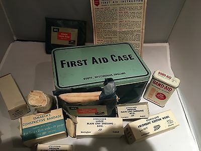 Vintage 1960s First Aid Tin With Period Contents