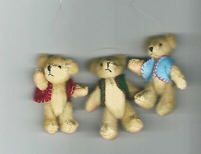 "NEW Three Delton Articulated Teddy Bear 3"" Ornaments  #4709-0  Group #4"