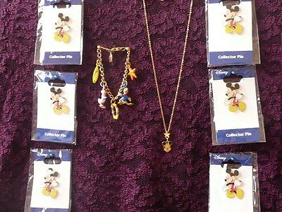DISNEY JEWELRY COLLECTION - Necklace, Charm Bracelet, 6 Pins