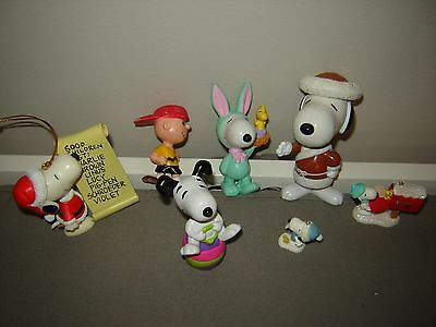 Lot of 7 Snoopy Peanuts Ornaments and Figurines Charlie Brown Christmas Easter
