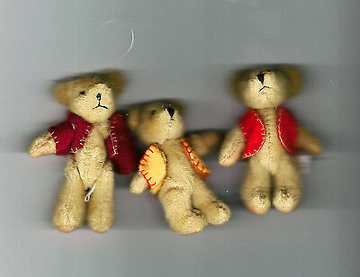 "NEW Three Delton Articulated Teddy Bear 3"" Ornaments  #4070-0  Group #6"