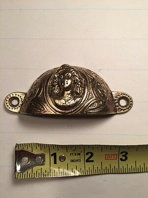 Rare Antique Vintage Old Originial Cast Iron Eastlake Bin Pull Joan Of Arc Brass