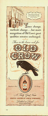 1950's Vintage ad for Old Crow~Whiskey~Black Crow/Perched on emblem