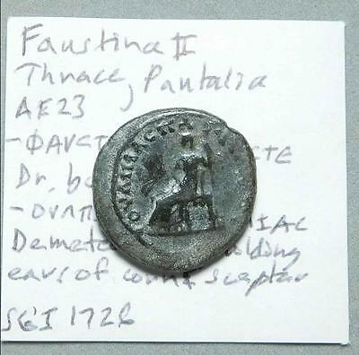*HHC* Thrace, Pautalia. Faustina II The Younger, Demeter seated (Inv #P11)