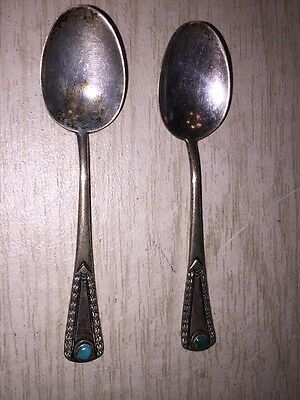 set of 2 Silver DEMITASSE SPOONS with round  turquoise stone