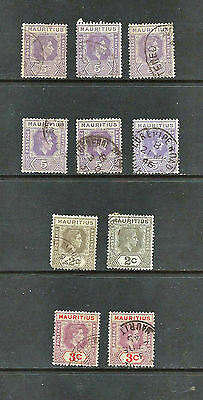 Ten Used 1938 Mauritius Stamps - (SG252/253/255a)