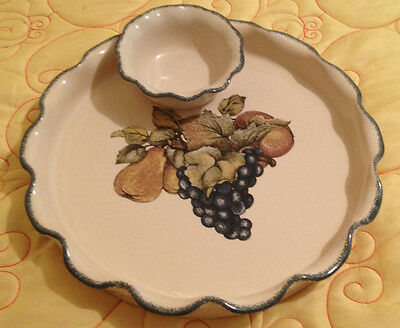 Home & Garden Party Stoneware Large Platter & small bowl chip and dip server