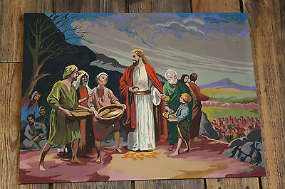 """1960s Vintage Paint by Number Jesus  /  """" LOAVES AND FISH """""""