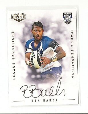 2013 Nrl Esp Elite Ben Barba League Sensations Signature Card 081/130 Bulldogs