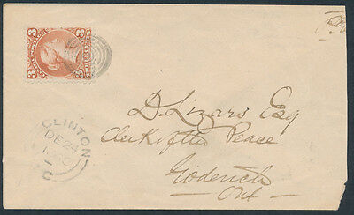1868 #25 3c Large Queen, Clinton to Goderich, Huron County Cover