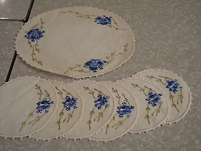 Vintage Table linen lot blue doilies coasters embroidery handmade wedding round