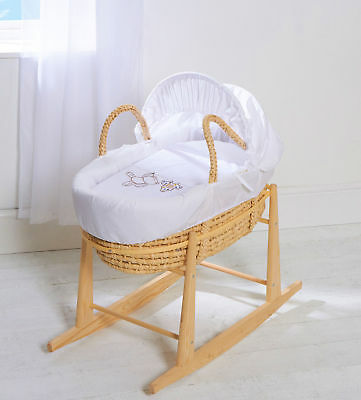 Moses Basket With Mattress Covers & Rocking Stand Grey Hanging Ted Palm With Whi