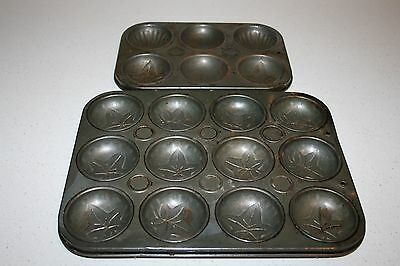 C.1950's Patterned Vintage Cake, Friand Or Biscuit Baking Trays