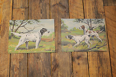 """2 Piece Lot / 1960s Vintage  """" Paint by Number """" Paintings """" HUNTING POINTERS """""""