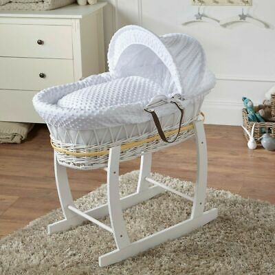 White Dimple White Wicker Deluxe Moses Basket & White Rocking Stand