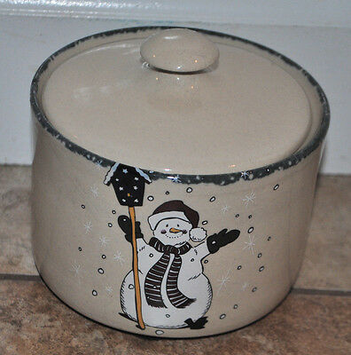 Home & Garden Party Snowman Small Crock with Lid  Cheese crock