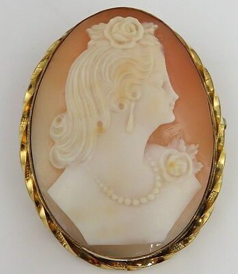 Antique GF Shell Cameo Pendant Brooch.
