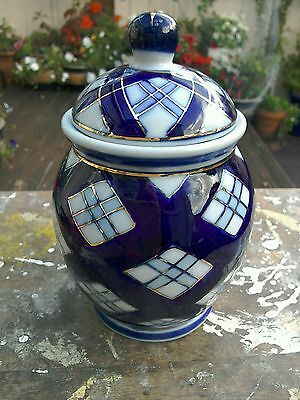 Vintage Blue And White Ginger Jar With Gold Gilding