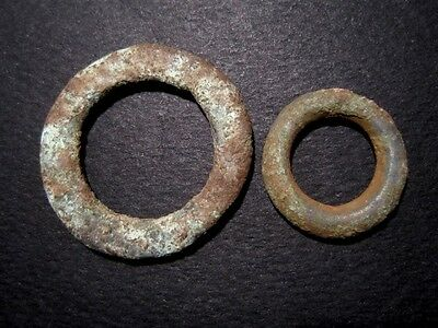 LOT of 2pcs. RARE CELTIC BRONZE RING MONEY PIECES, AS FOUND CONDITION+++