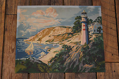 """1960's  Vintage """" Paint by Number """" Painting  """" LIGHTHOUSE """""""