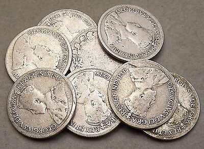 Lot Of Nine Canada Silver 10 Cent Pieces *ag And Better Coins*