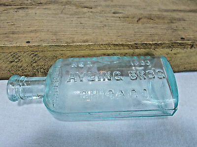 Antique Old 1893 Ayling Bro's Chicago Apothecary Medicine Bottle Mint Green