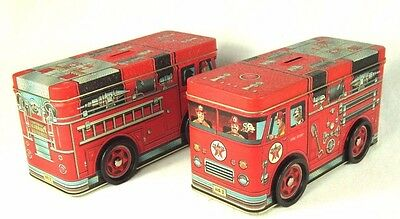 Two 1997 Texaco Fire Engine Tin Litho No.3 Banks Brand New Never Used