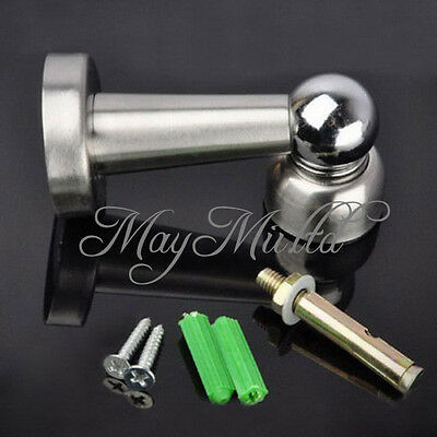 New Stainless Steel Magnetic Door Stop Stopper Holder Catch & Fitting Screws A ぴ