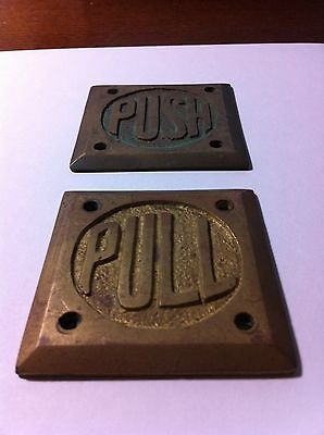 Vintage heavy brass store door plates - set of 2
