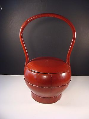 Antique Chinese Handled Red Lacquer Wedding Basket Lunch Box