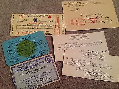 Wwii Paper Lot To Chinese American Sailor Uss Porter Dd 800