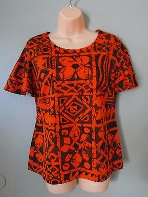 Vintage Women's Blouse Top - Orange And Brown Print - Handmade - Polyester