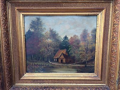 Antique Oil Painting On Tin Signed Original Frame 1850's