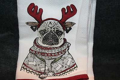 Pug with Antlers Kitchen Towels Benefits Dog Rescue Cynthia Rowley Gift Idea