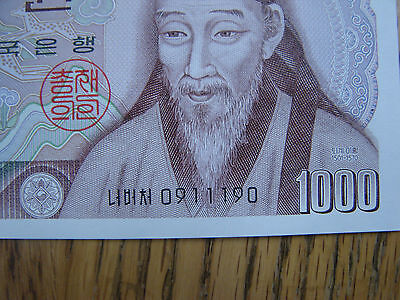 South Korea 1,000 One Thousand Won Radar Note Uncirculated C.u. 091190 Number
