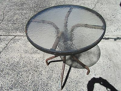 outdoor set, SMALL  Glass top outdoor table 60 cm diameter with two chairs