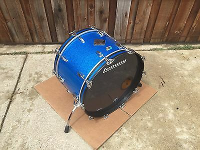 """1970's Ludwig 22"""" Recovered Blue Sparkle Bass Drum-   Excellent Condition!!"""