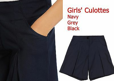 Girls School Culottes,School Uniform,Shorts Grey,Black, Navy Ex M*S All Sizes