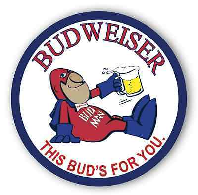 """BUDWEISER BUD MAN - THIS BUDS FOR YOU - 7 """" Metal Sign"""