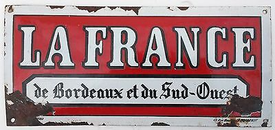 "Vintage French Enamel Sign La France Shabby Chic Paris Antique 14"" x 6.5"""