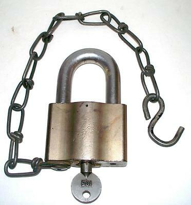 Sargent and Greenleaf Large High Security Padlock and Key Lock Brass Steel