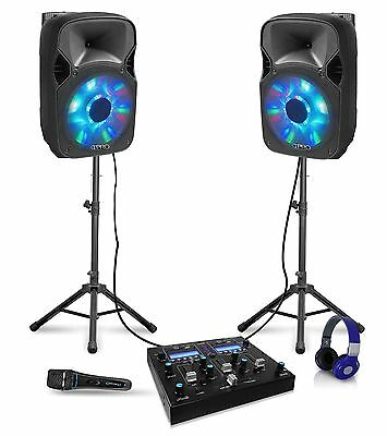 "12"" Bluetooth DJ Package 2 12"" Speakers, Mixer,Tripods,Headphone & Microphone"