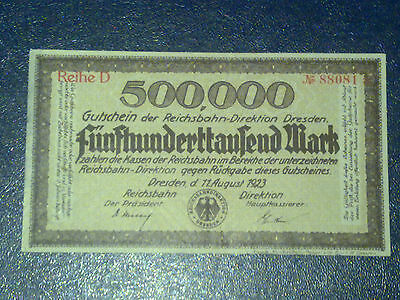 Germany -500 000 Mark Rail Banknote 1923-Dresden-Inflation - Very  Fine