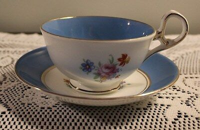 Sampson Smith Old Royal Bone China Blue Band Cup Saucer Set Pattern 2225