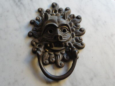 Vintage Brass Door Knocker Devil Gargoyle Demon Face Nice Patina