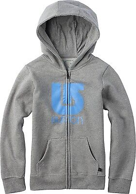 Burton Sport Gray Full Zip Up Hoodie With Blue Logo Girls Youth Size Medium