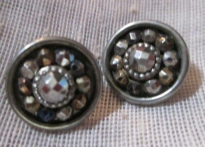 Antique Pair Of Sml Sparkly Metal Cut Steel Waistcoat Buttons